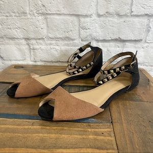 ZARA Open Toe Flats with Studded Ankle Straps & open Toe